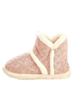 arizona homewear-sloffen in gebreide look met pluche binnenin roze
