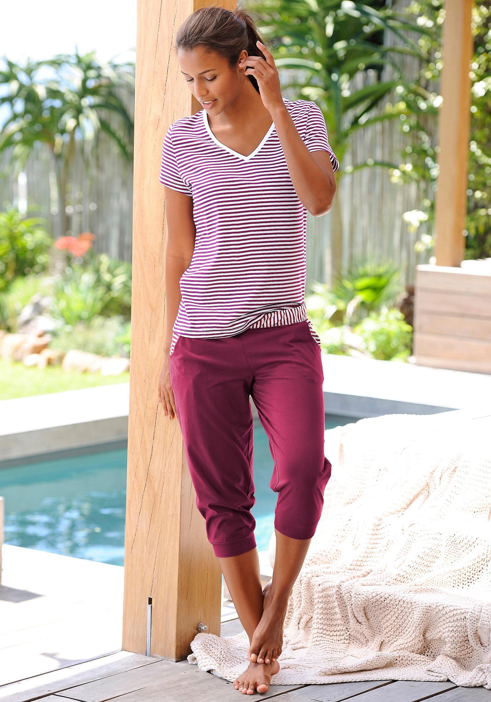 H.I.S capripyjama met gestreept T-shirt en casual broek in de webshop van Lascana kopen