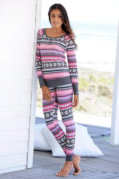 bench pyjama met veelkleurig noors dessin grijs