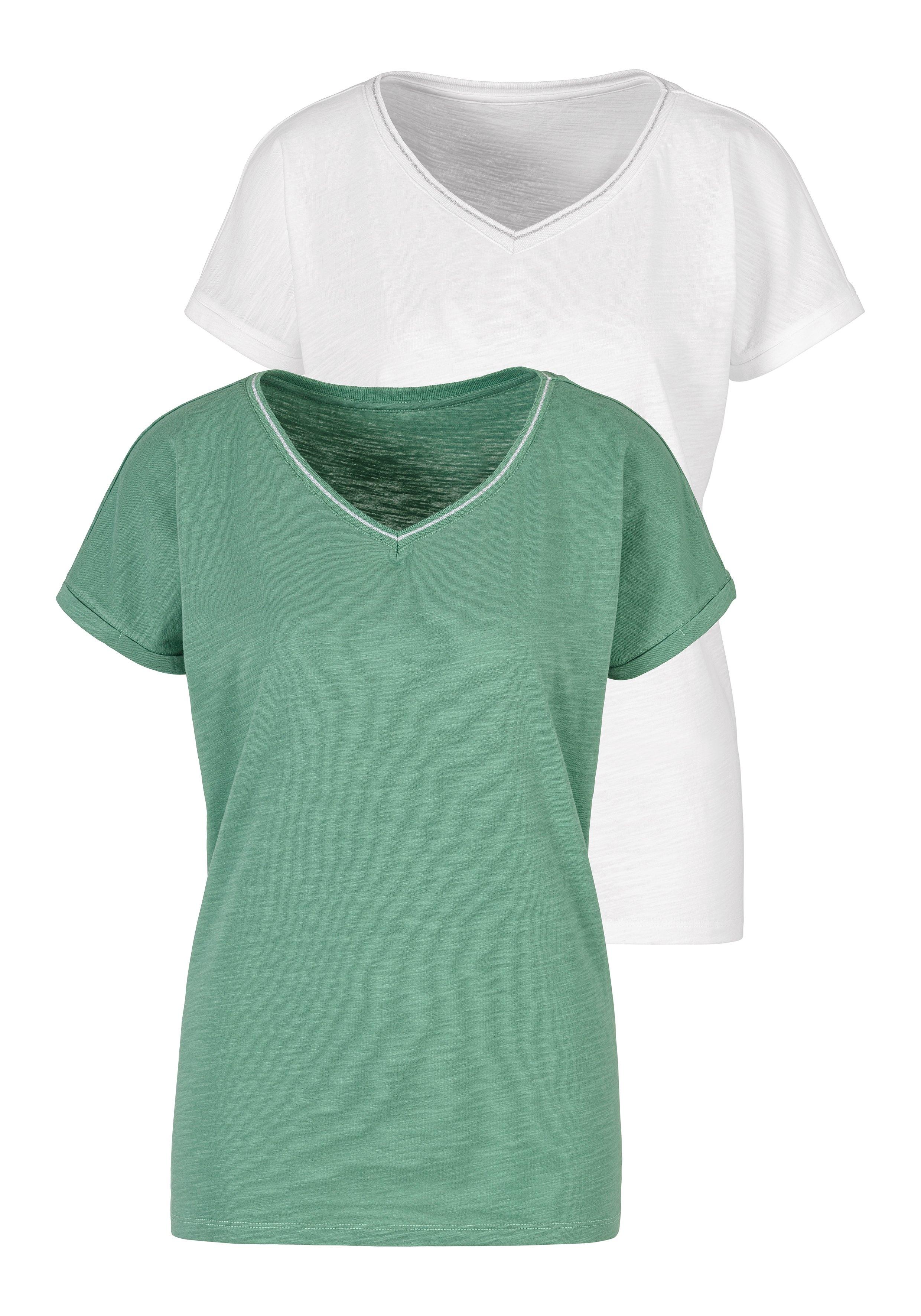 H.I.S T-shirt met modieuze lurex-strepen (Set van 2) nu online kopen bij Lascana