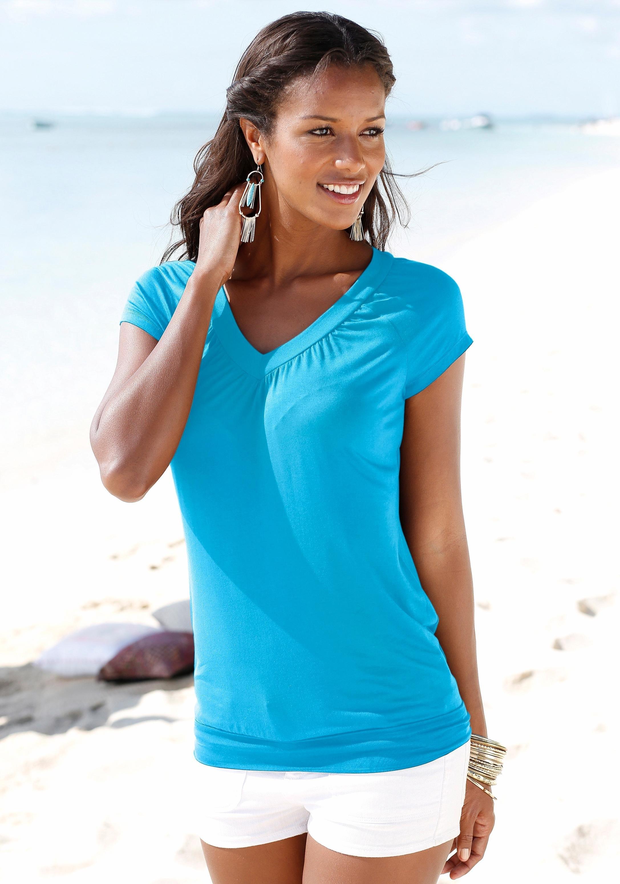 LASCANA shirt met V-hals en brede boord (set van 2) in de webshop van Lascana kopen