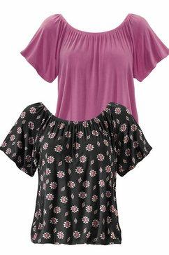 shirt met carmenhals (set van 2)
