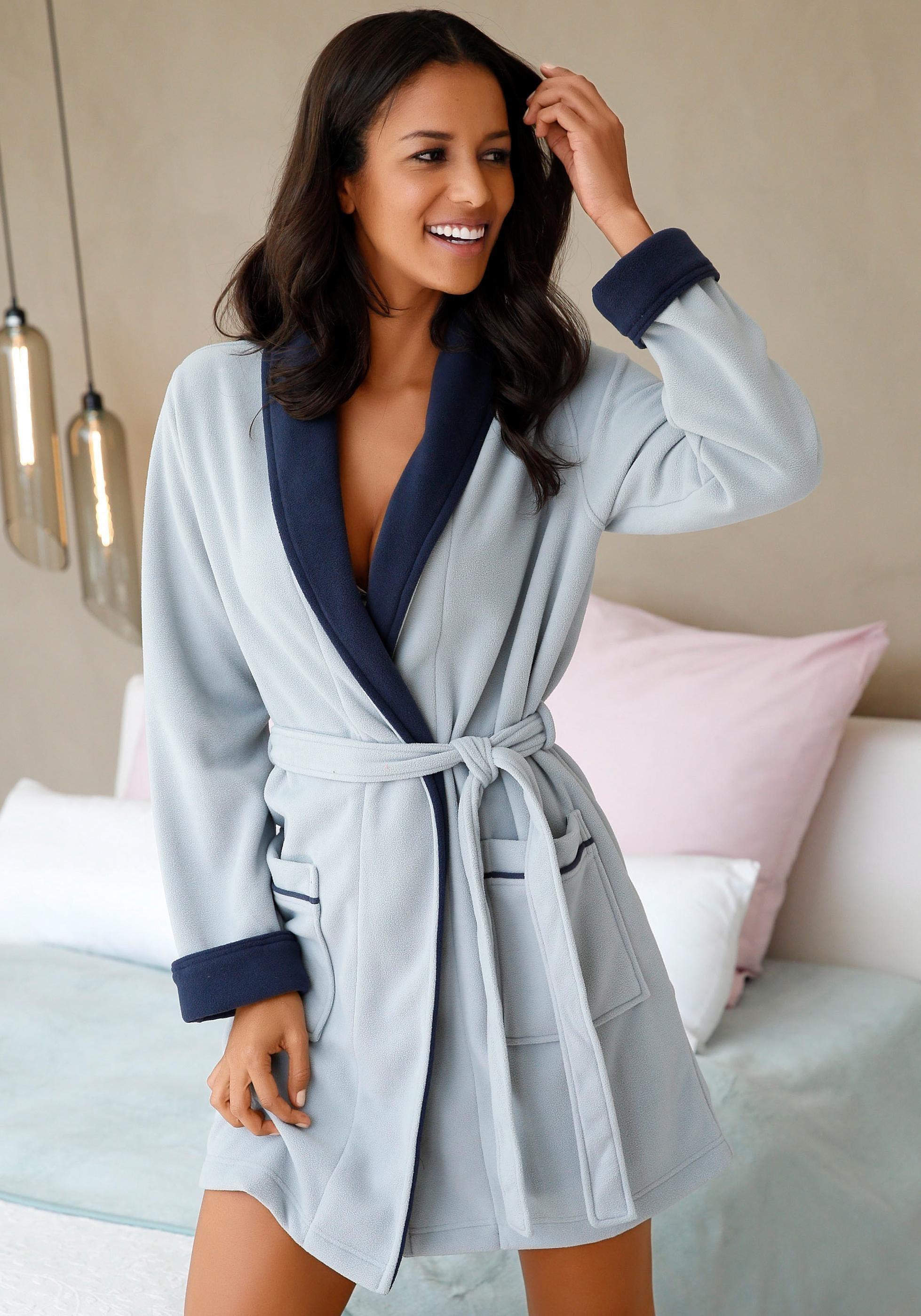 Op zoek naar een vivance collection 2-kleurige ochtendjas met sjaalkraag? Koop online bij Lascana