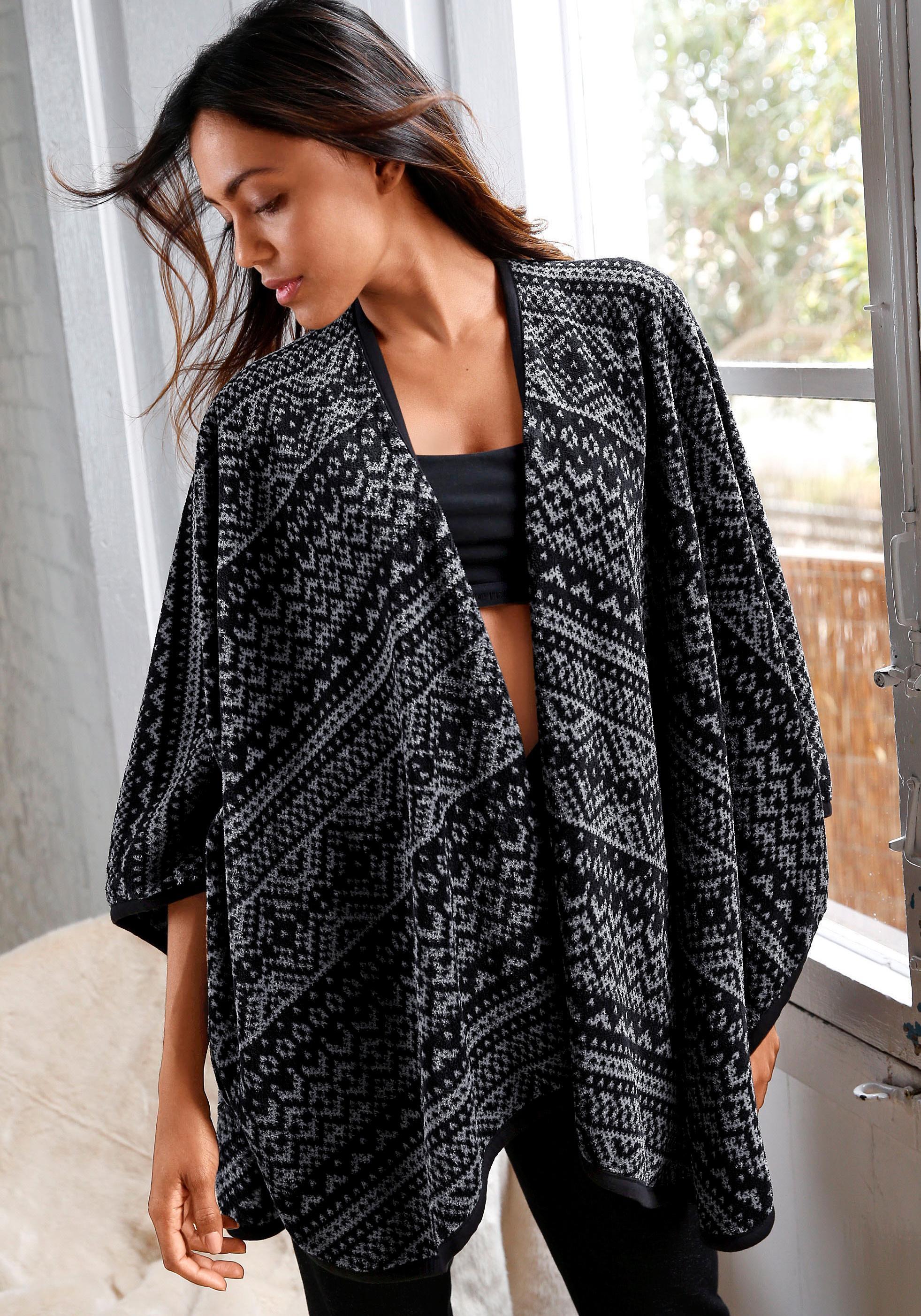 Rebelle open poncho in zwart/grijs Noorwegen-design nu online bestellen