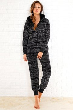 rebelle jumpsuit van fleece in zwart-grijs noorwegen-design zwart
