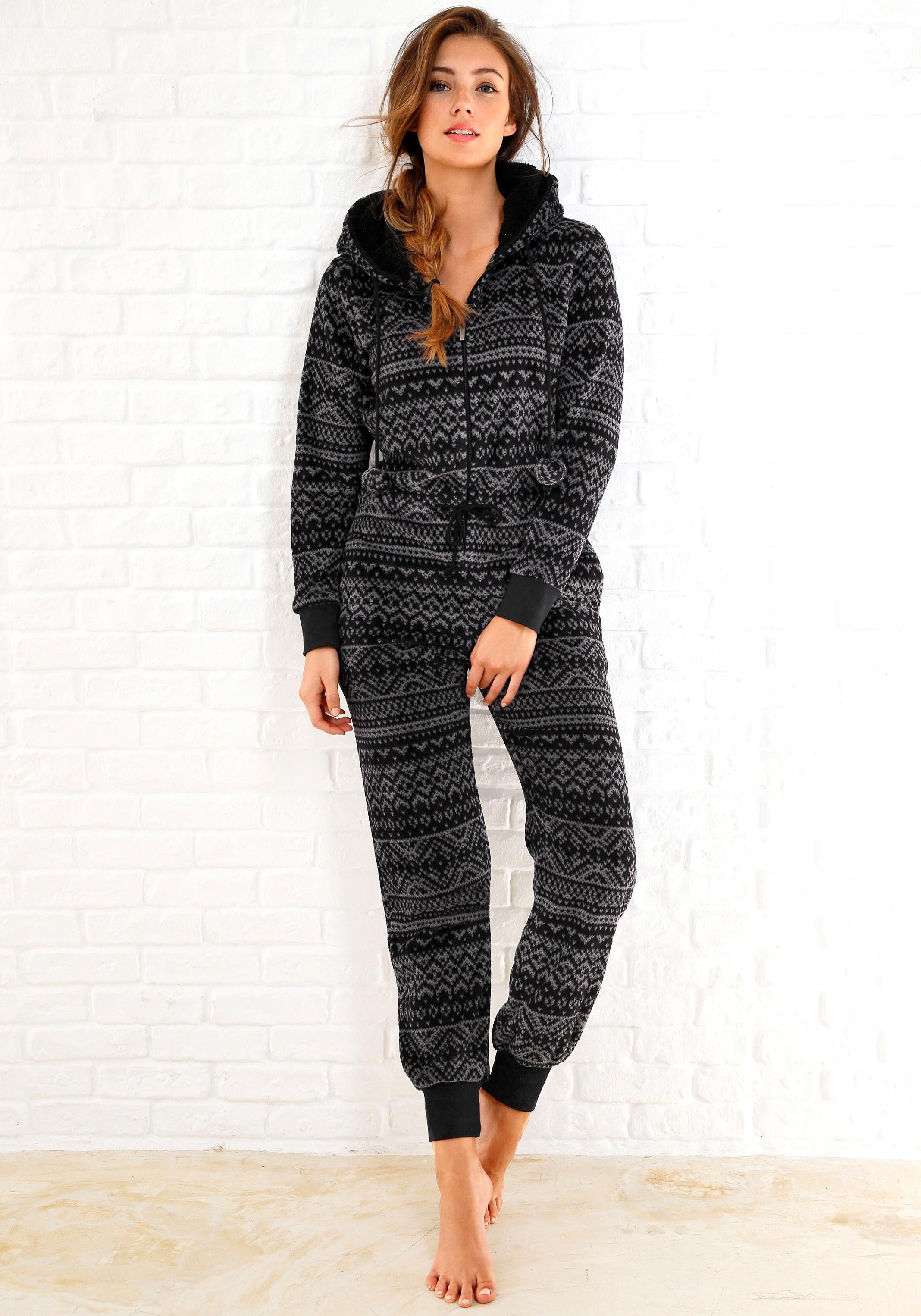 Rebelle jumpsuit van fleece in zwart/grijs Noorwegen-design - gratis ruilen op lascana.nl