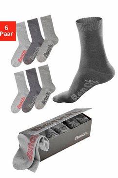bench. sokken met verschillend gekleurde logo's (box, 6 paar) grijs