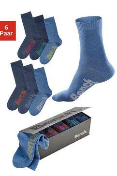 bench. sokken met verschillend gekleurde logo's (box, 6 paar) blauw