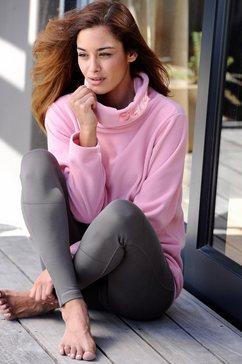 bench fleece-shirt met lange mouwen en staande kraag roze