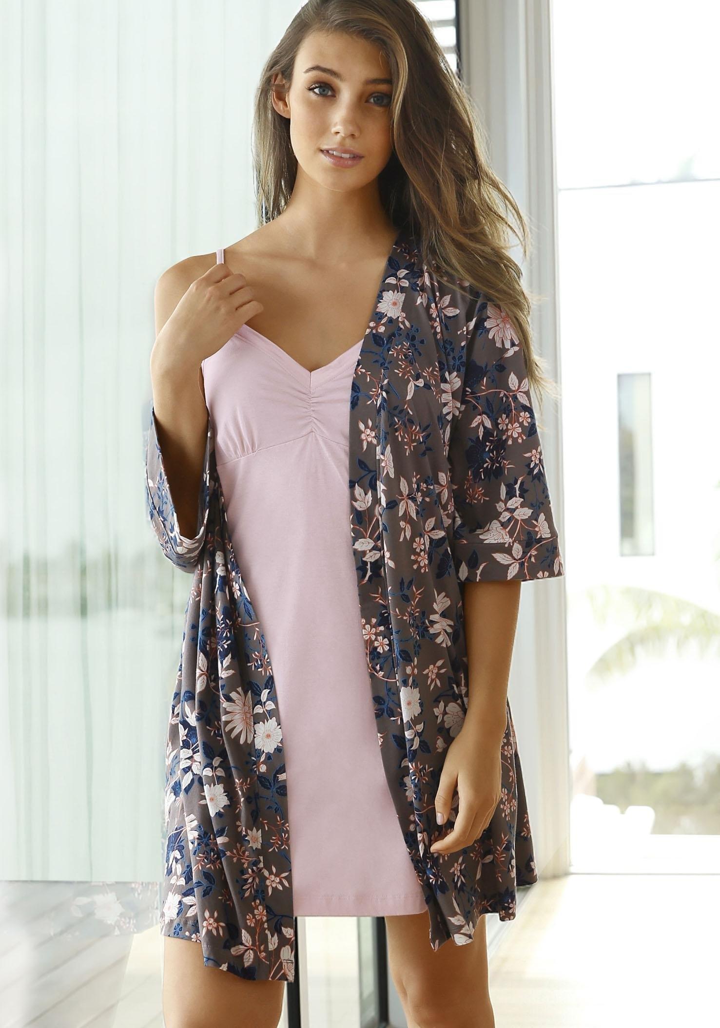 s.Oliver RED LABEL Bodywear kimono met bloemenprint nu online bestellen