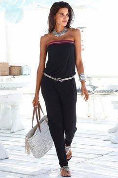 s.oliver red label beachwear jumpsuit met gehaakt detail zwart