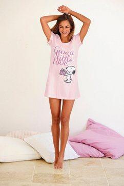 peanuts leuk big-shirt met snoopyprint in mini-lengte roze