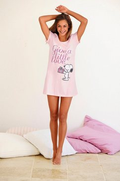 peanuts nachthemd met snoopy-print in minilengte roze