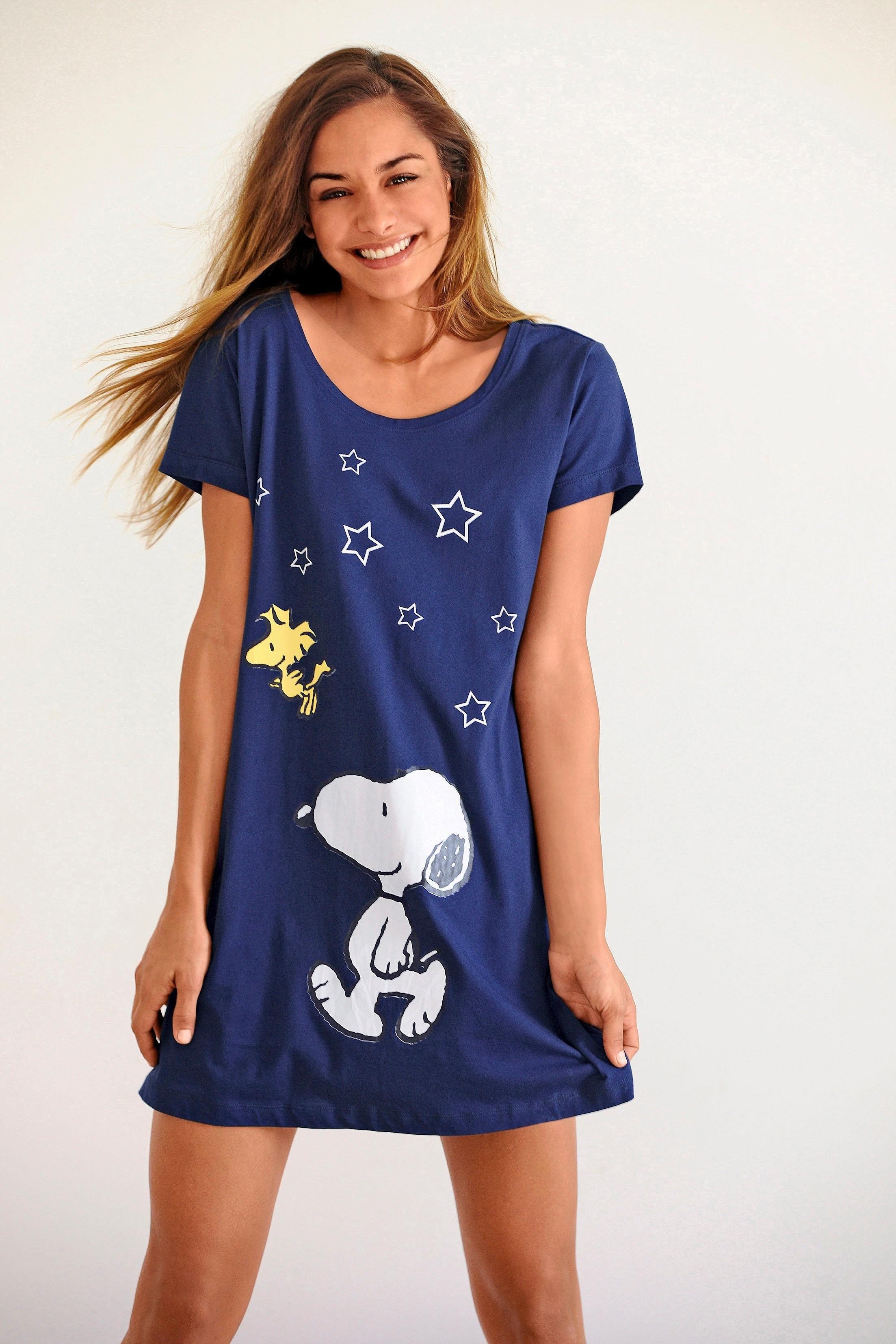 Peanuts leuk big-shirt met Snoopyprint in mini-lengte nu online kopen bij Lascana