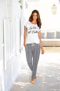 s.oliver red label bodywear pyjama in zwart-wit-design »la vie est belle« zwart