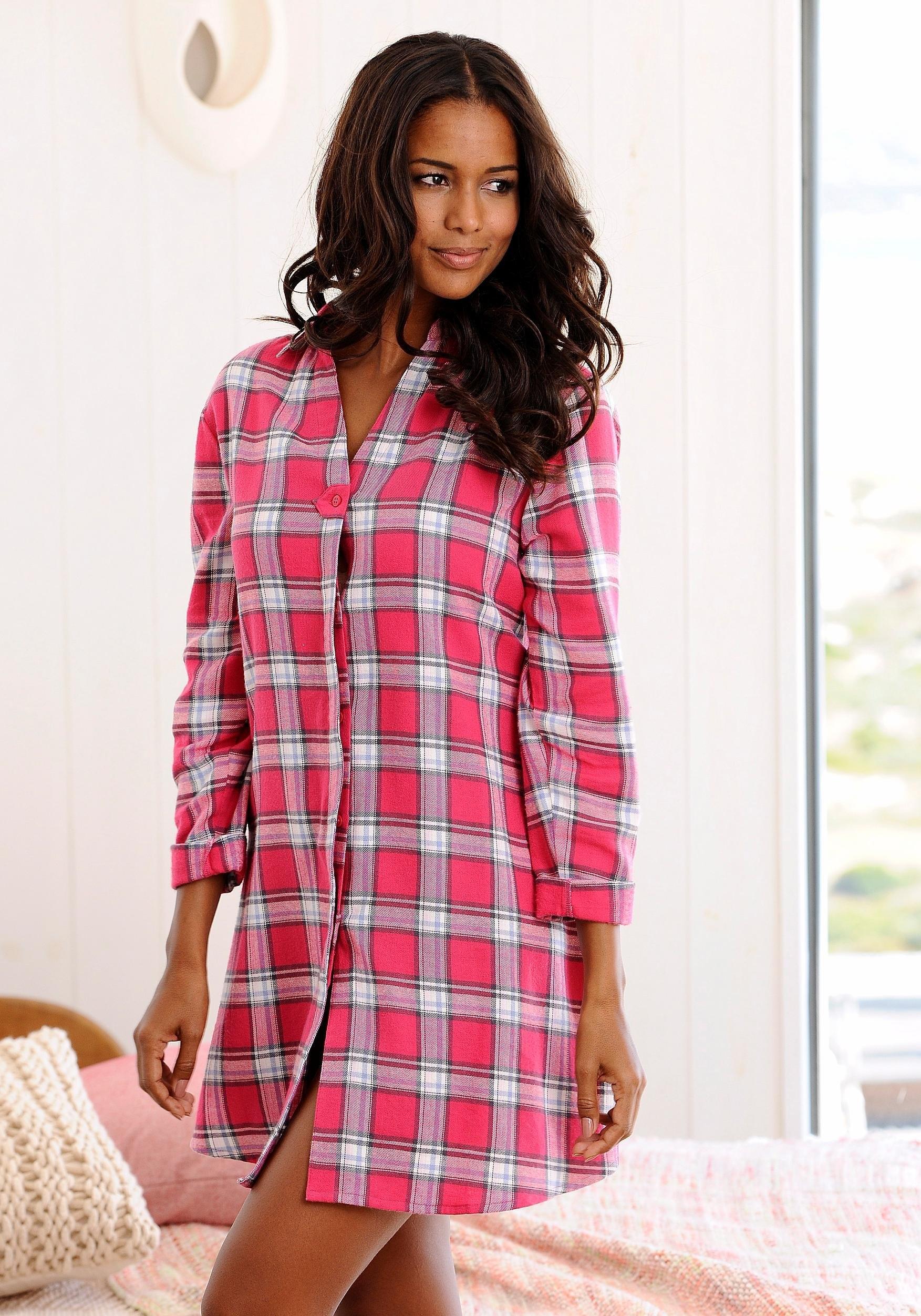 H.I.S geruite nachthemd in geweven flannelkwaliteit nu online kopen bij Lascana
