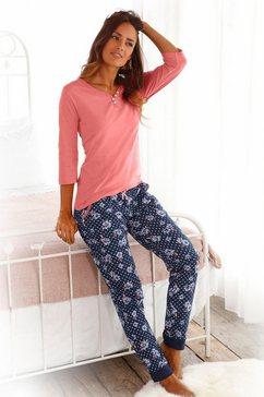 h.i.s pyjama met 3-4-mouwen en knoopsluiting rood