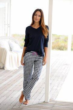 pyjama met lage mouwen en geruite broek