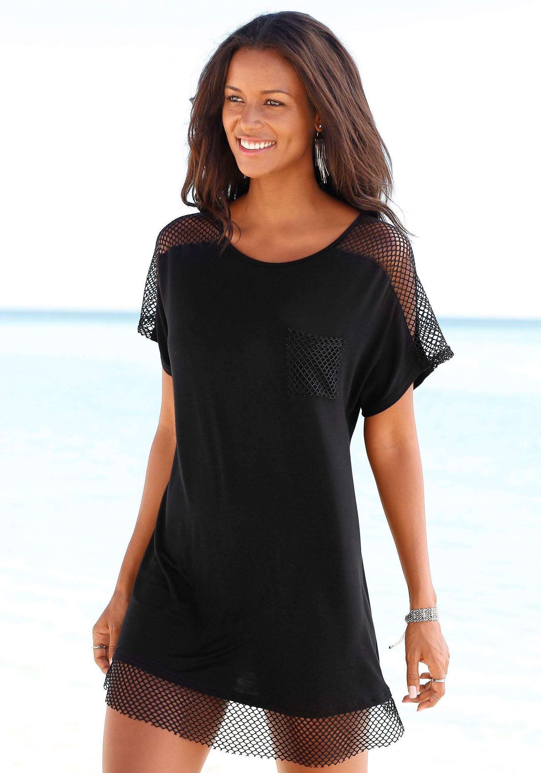 s.Oliver RED LABEL Beachwear lang shirt met mesh-inzetten goedkoop op lascana.nl kopen