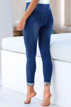 buffalo jegging in jeans-look met gedessineerde omslagboorden blauw