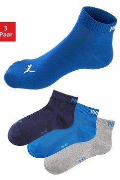 sportieve korte sokken, 3 paar, met ribboord