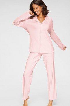 seidensticker pyjama in klassiek model met knoopsluiting roze