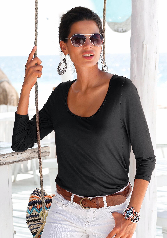 s.Oliver RED LABEL Beachwear strandshirt met kanten inzet bij Lascana online kopen