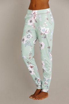gebloemde pyjamabroek met kanten randje