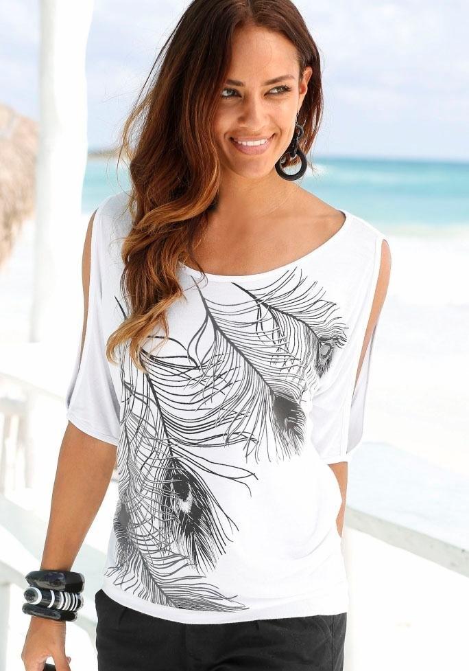 Lascana Strandshirt met splitje bij de schouders goedkoop op lascana.nl kopen