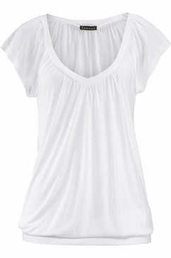 lascana shirt met v-hals met brede elastische tailleband wit