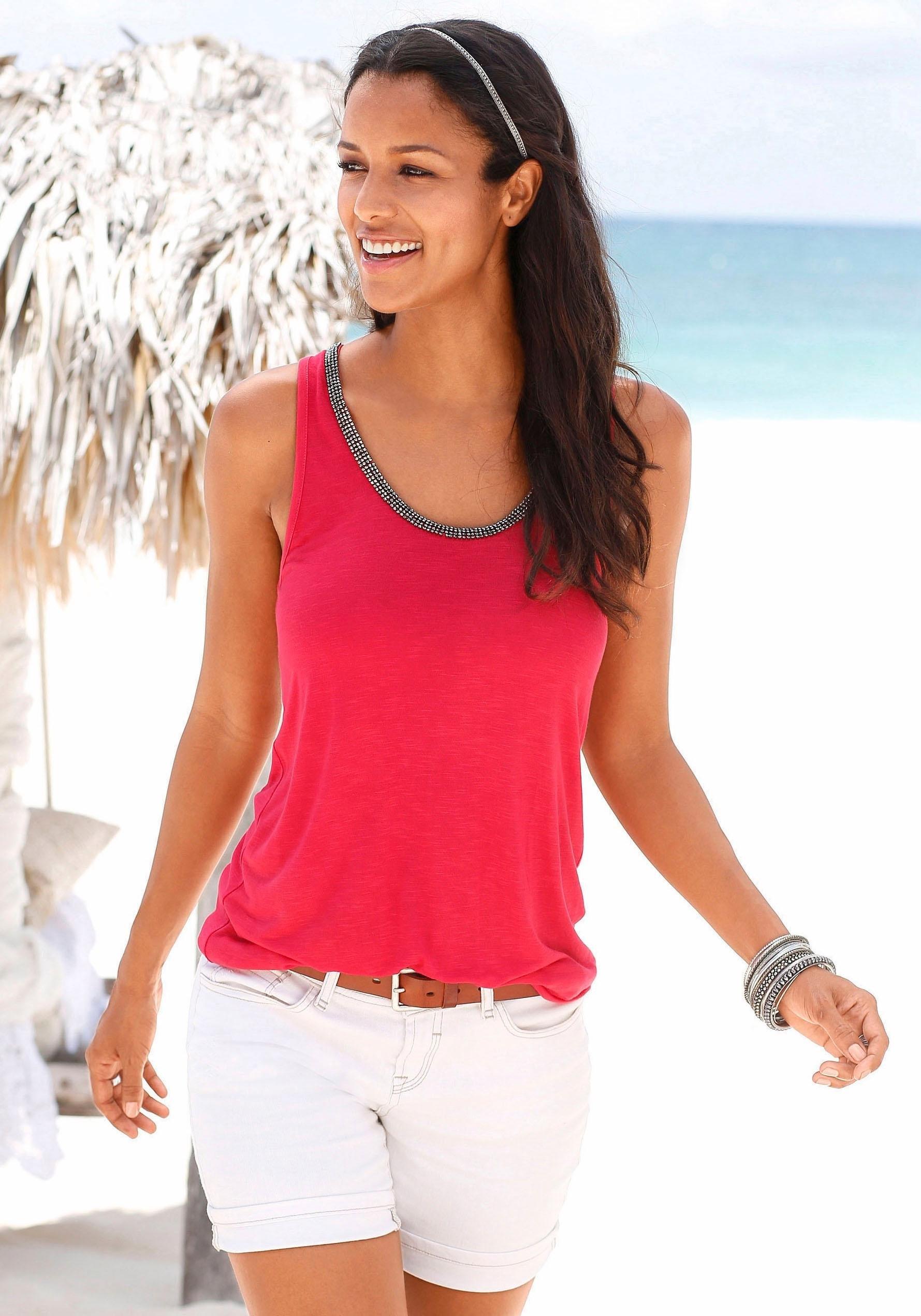 S.oliver Red Label Beachwear top met glitterdetail in de webshop van Lascana kopen