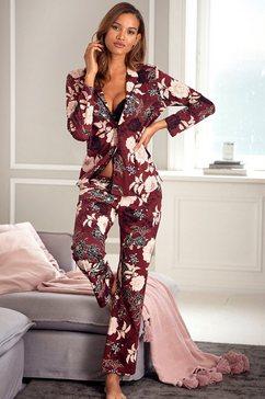 s.oliver red label beachwear pyjama in klassiek model met bloemmotief rood