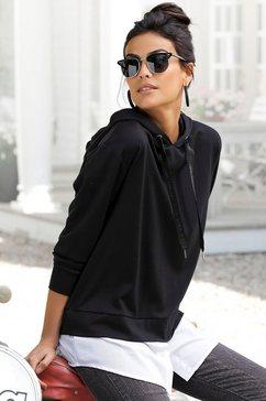 lascana capuchonshirt met afneembare blouse-inzet bij de zoom zwart