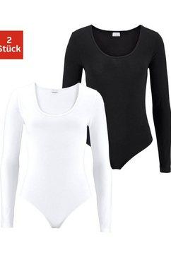 vivance body met lange mouwen in katoen-stretchkwaliteit (set van 2) zwart
