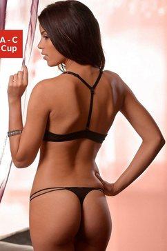 melrose set: push-up bh (met string) zwart