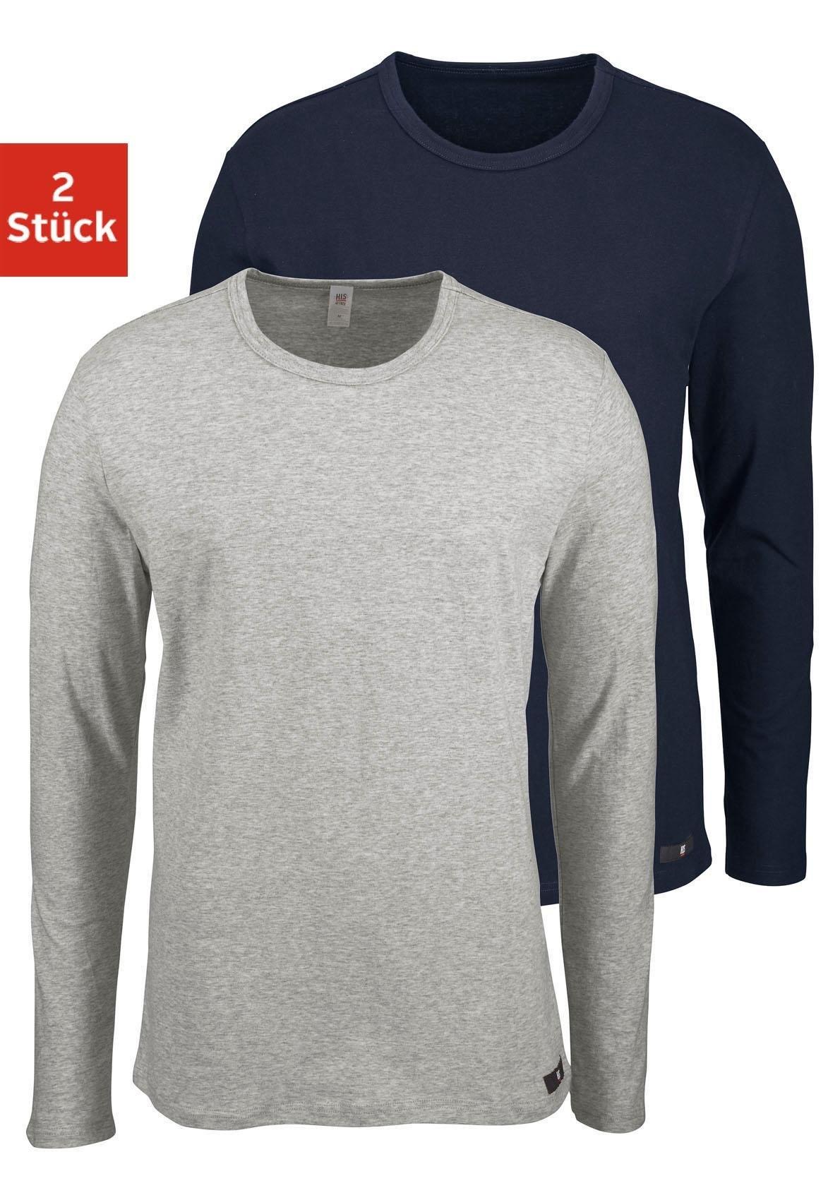 H.I.S shirt met lange mouwen gemaakt van katoen (Set van 2) - gratis ruilen op lascana.nl
