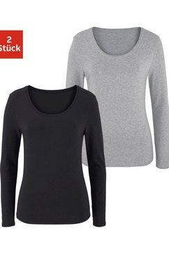 vivance shirt met lange mouwen elastische katoenkwaliteit (set van 2) grijs