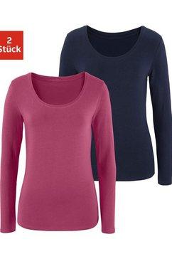 vivance shirt met lange mouwen (set van 2) paars