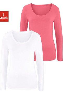 vivance shirt met lange mouwen elastische katoenkwaliteit (set van 2) oranje