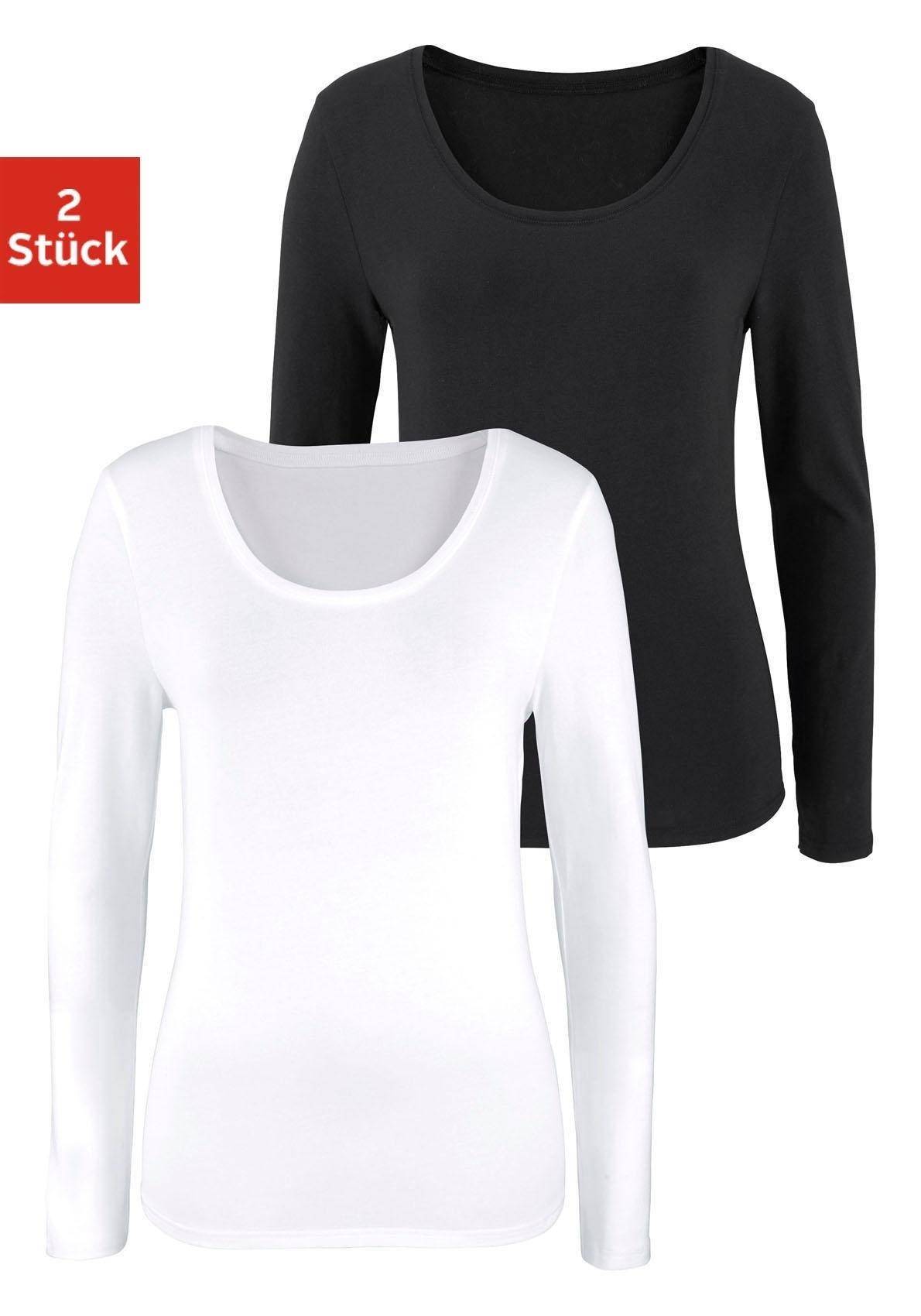 Vivance shirt met lange mouwen (set van 2) bij Lascana online kopen