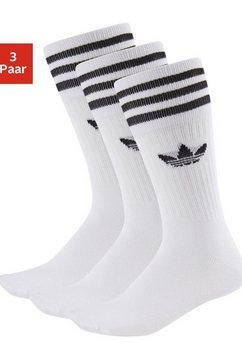 adidas originals sokken crew met klassiek merk en strepen (3 paar) wit