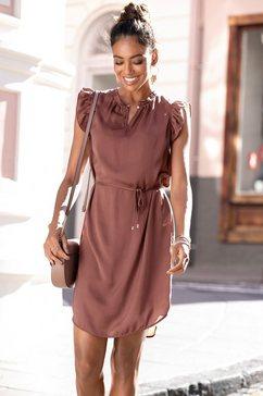 lascana satijnen jurk (met een bindceintuur) bruin
