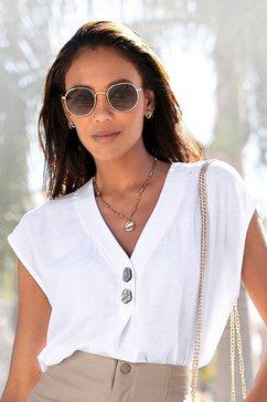 lascana blouse zonder sluiting met modieuze knopen wit
