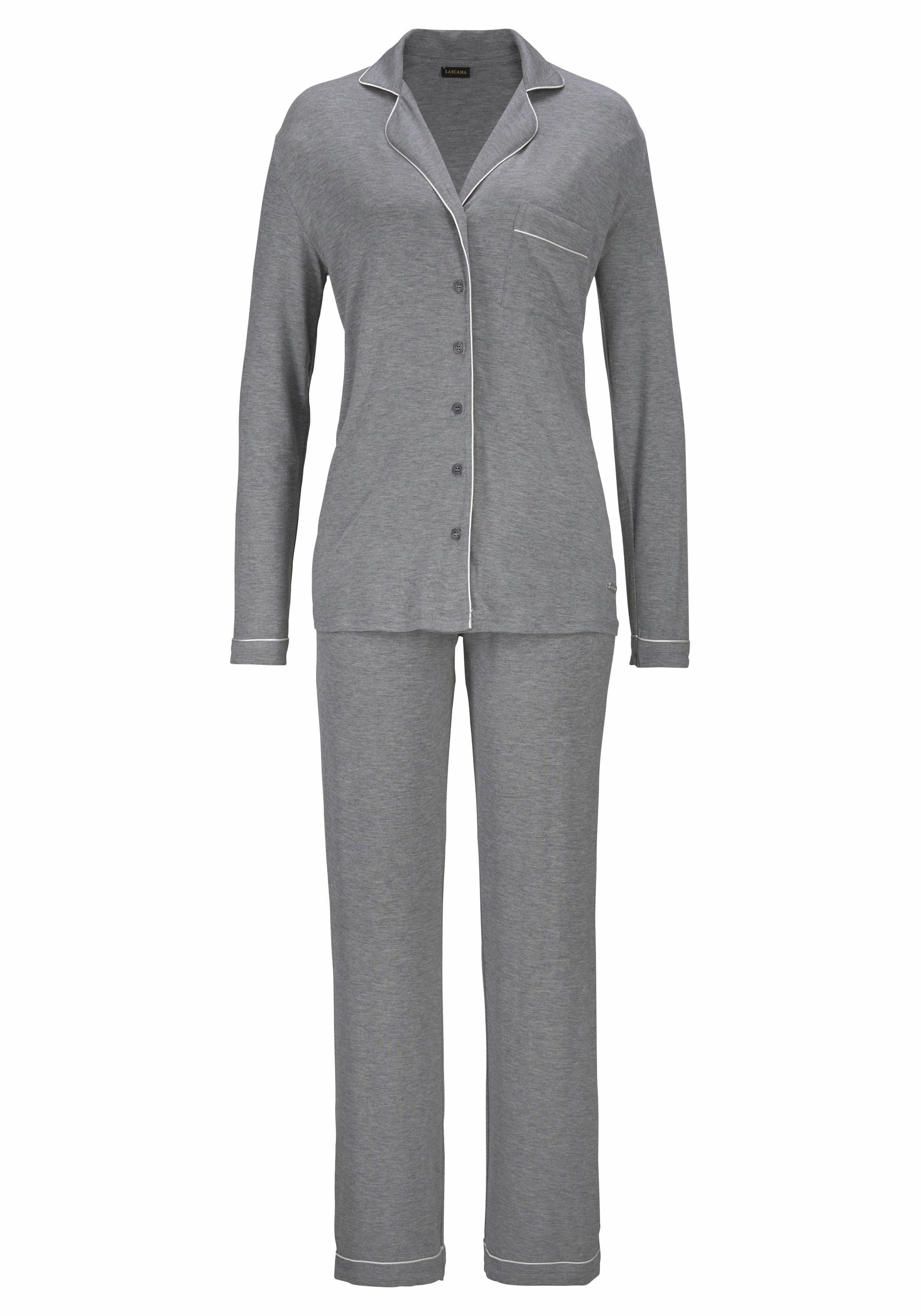 LASCANA pyjama in klassiek design met overhemdkraag en knoopsluiting bij Lascana online kopen
