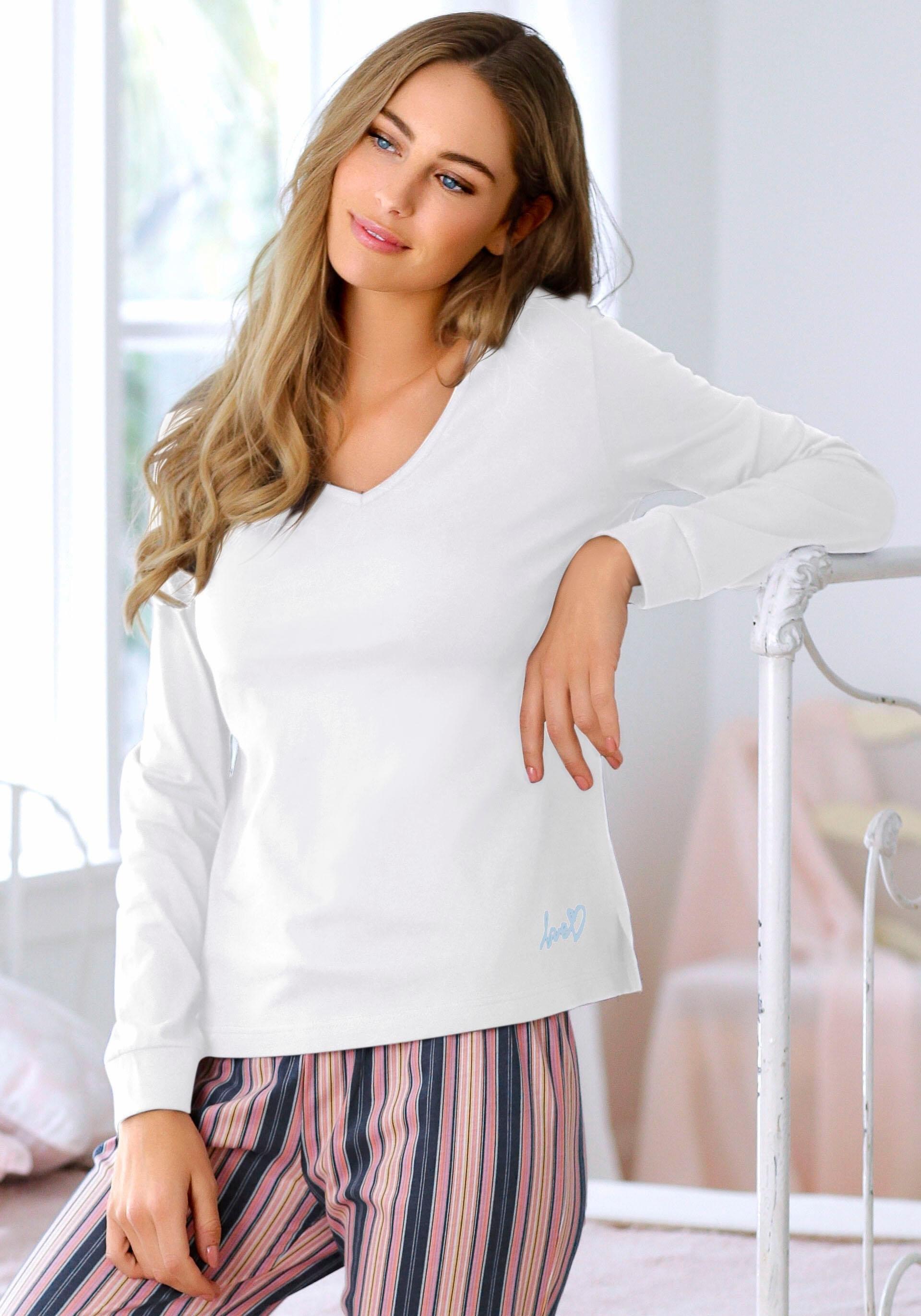 vivance collection shirt met lange mouwen en V-hals - verschillende betaalmethodes