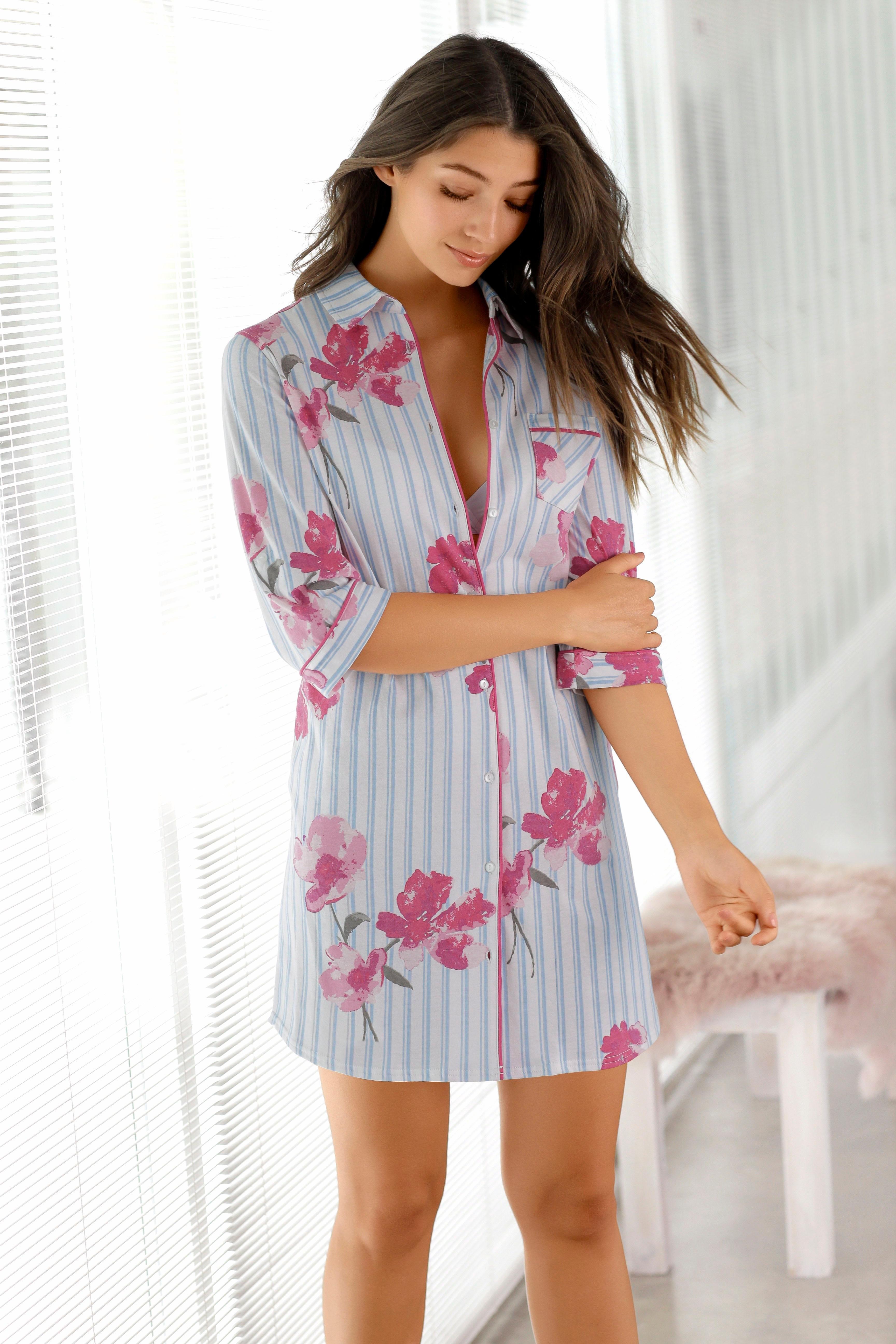 Vivance Collection Vivance Dreams nachthemd met strepen en bloemenprint bij Lascana online kopen