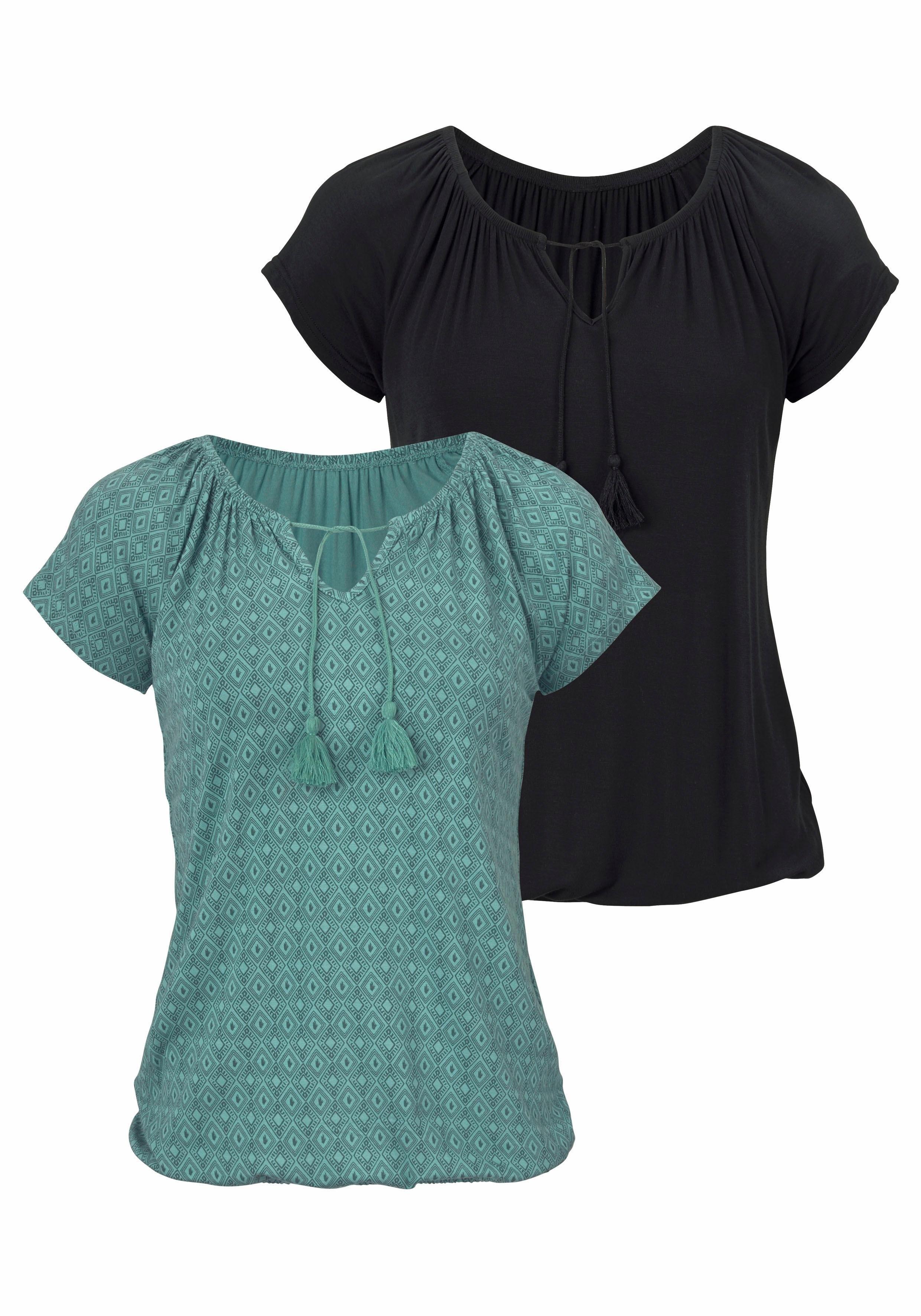 Vivance T-shirt met iets aangerimpelde hals (Set van 2) nu online kopen bij Lascana