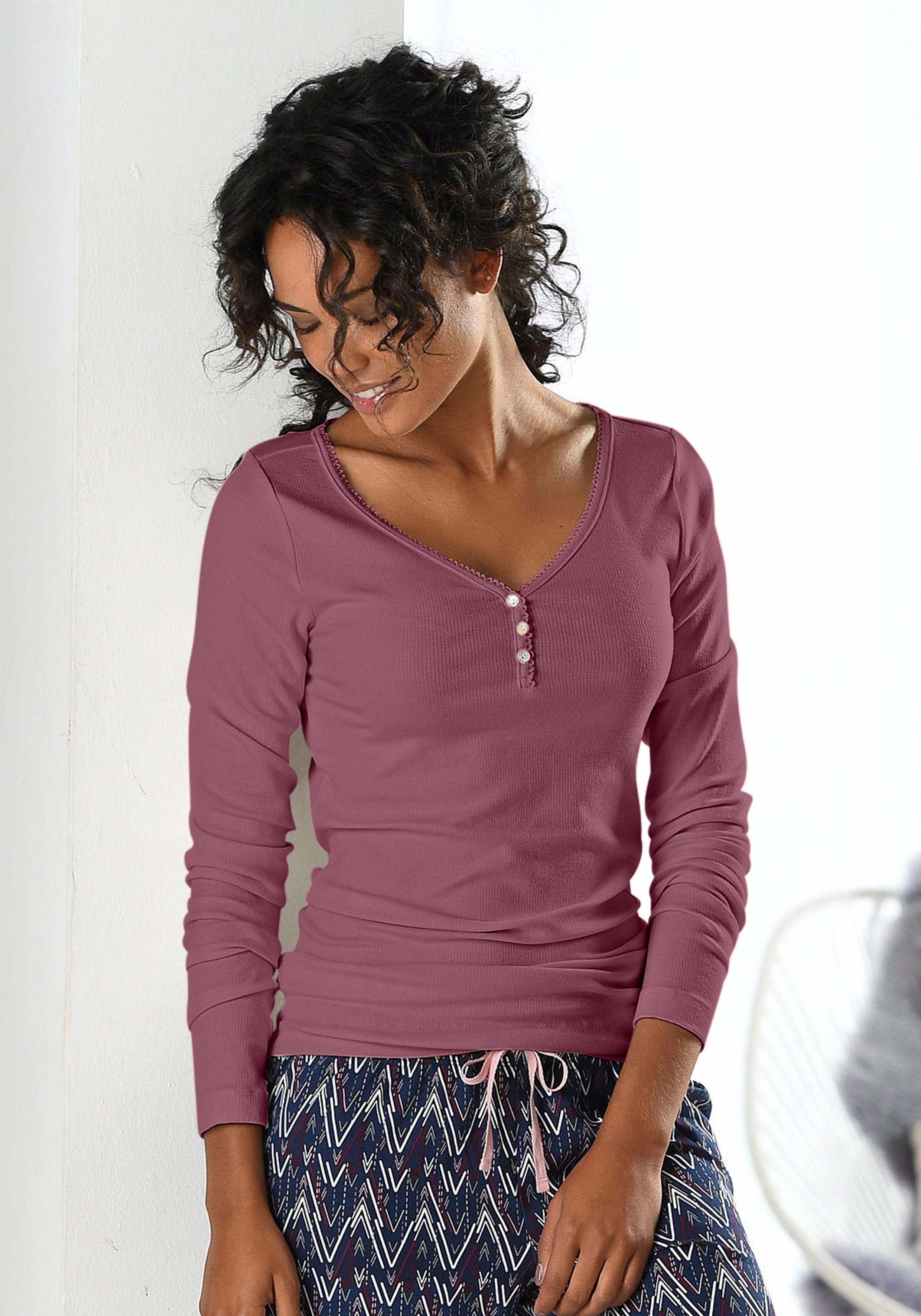 Petite Fleur shirt met lange mouwen, geribd met knoopsluiting goedkoop op lascana.nl kopen