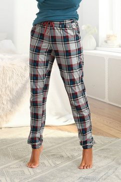 s.oliver red label beachwear pyjamabroek met motief all-over en contrastkleurige koord wit