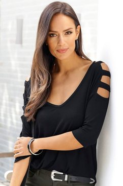 lascana shirt met 3-4-mouwen met uitsparingen zwart